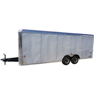 Left side of 8½' x 20' white tandem enclosed trailer for rent or sale [sn3283]