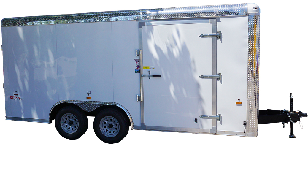 8½x16 white tandem enclosed trailer for rent or sale [sn2488] header image