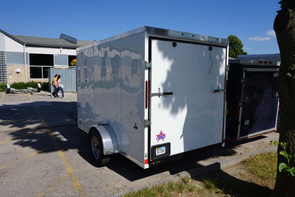 Back of 6' x 10' white single axle enclosed trailer [sn2852]