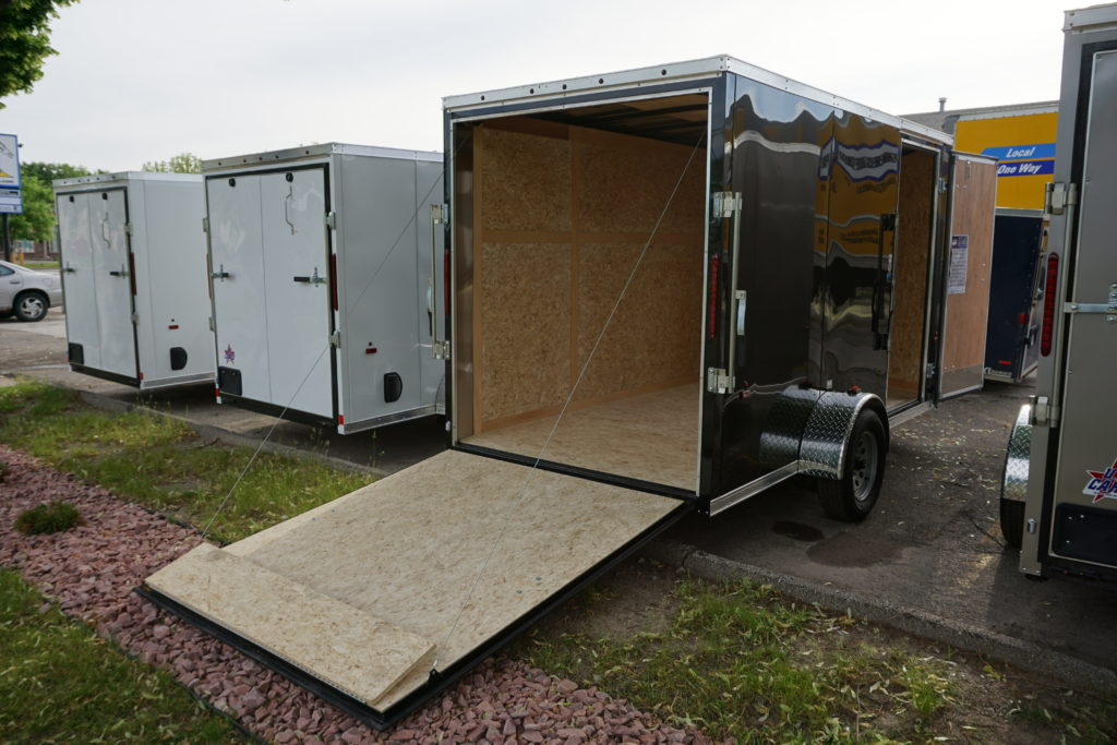 Back with doors open Black 6'x12' enclosed cargo trailer