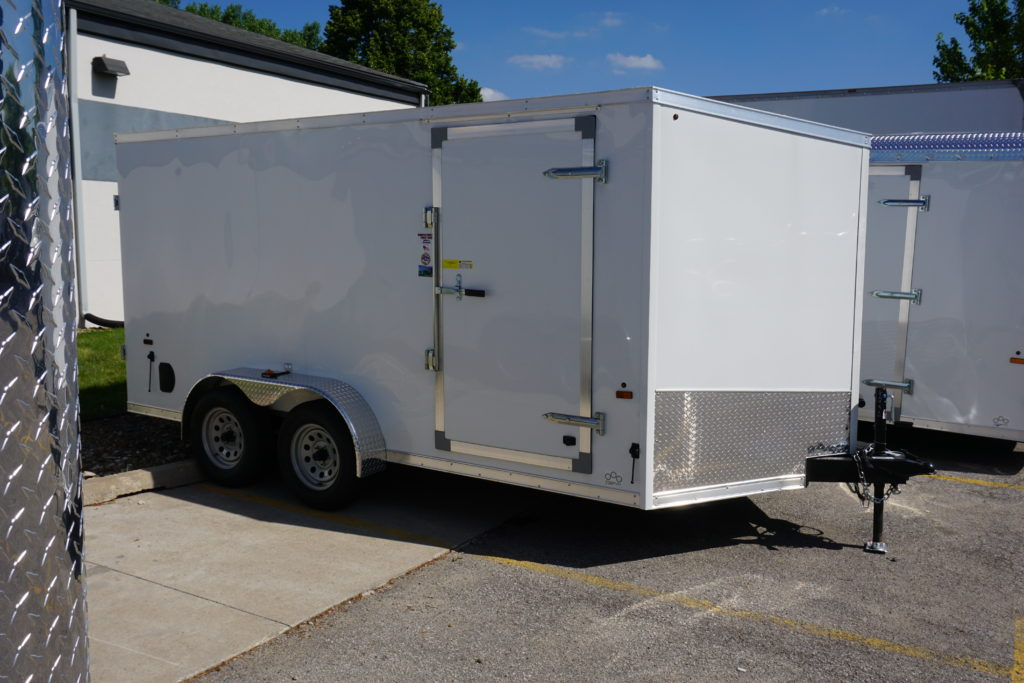 Front and right side of 7'x14' white tandem enclosed trailer for rent or sale 2432