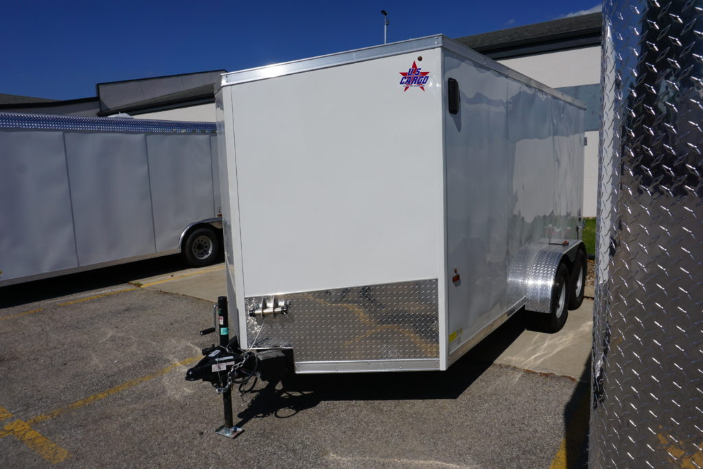 Front left of 7'x14' white tandem enclosed trailer for rent or sale 2432
