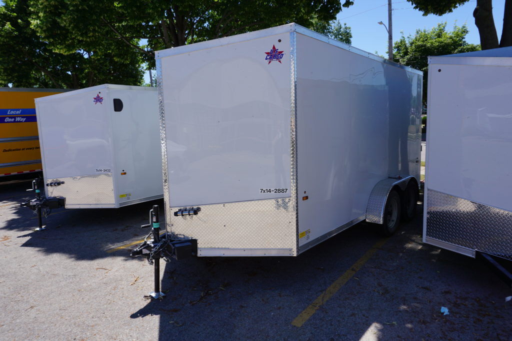 Front left of 7x14 white tandem enclosed trailer for rent or sale [sn2887]