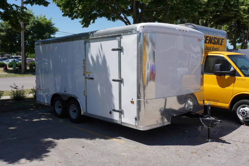 Front right of 8½x16 white tandem enclosed trailer for rent or sale [sn2488]