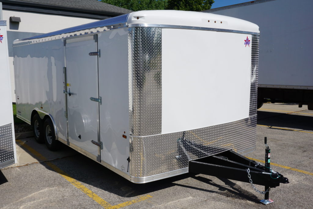 Front right of 8.5' x 20' white tandem enclosed trailer [sn2927]