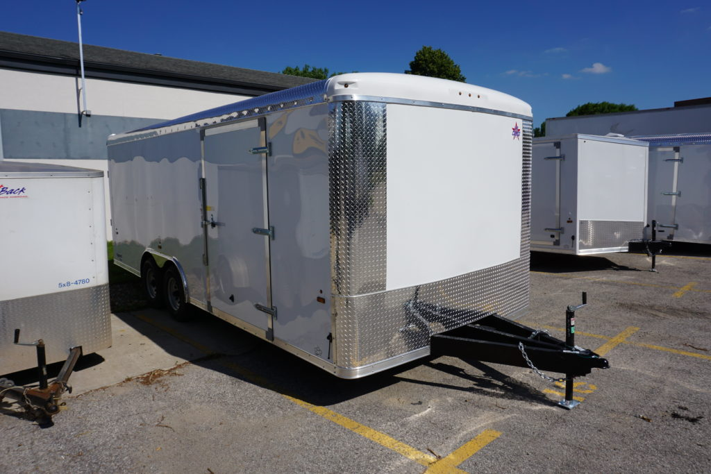 Front right with side door of 8½' x 20' white tandem enclosed trailer for rent or sale [sn3283]