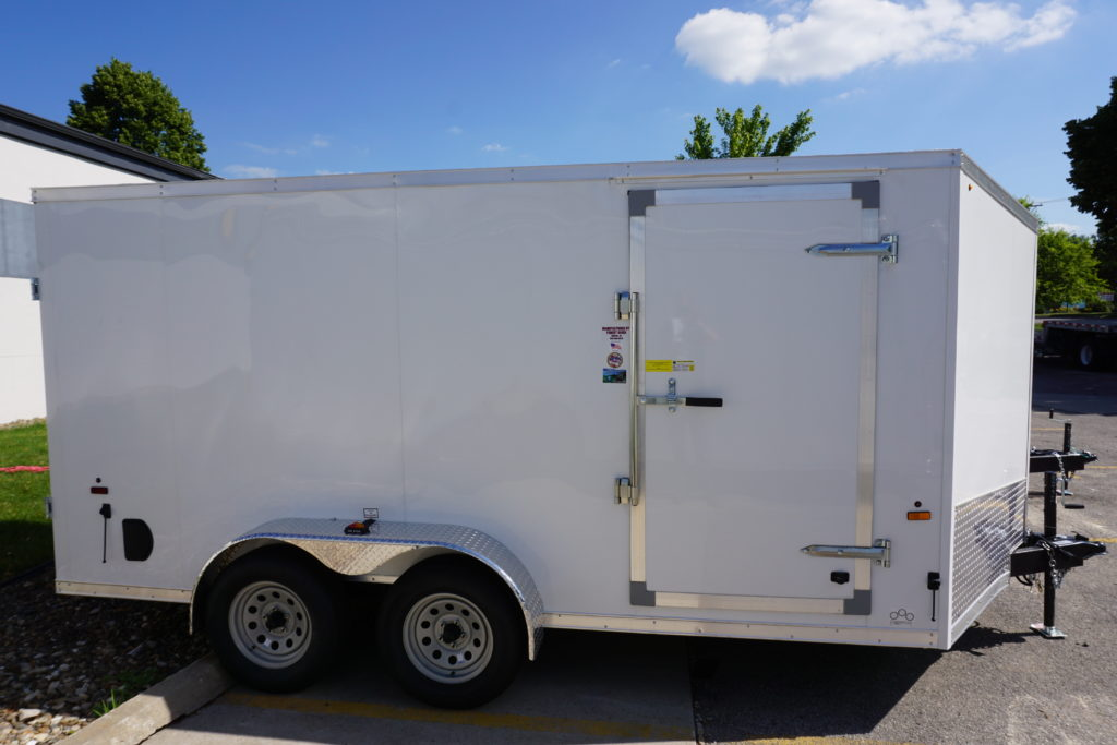 Right side of 7'x14' white tandem enclosed trailer for rent or sale 2432