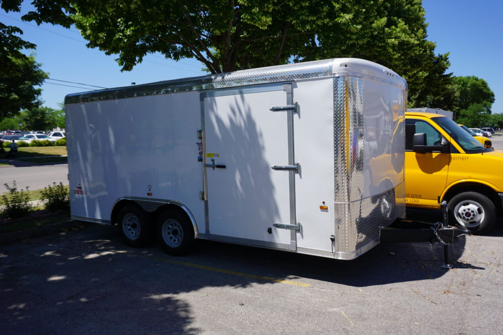 Side and front of 8½x16 white tandem enclosed trailer for rent or sale [sn2488]