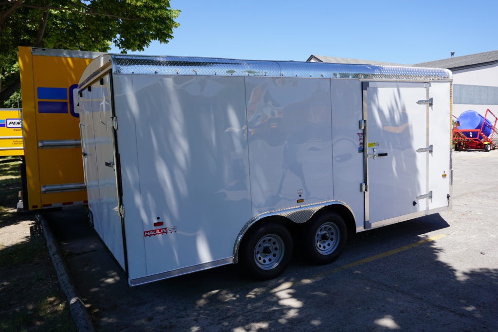 Side of 8½x16 white tandem enclosed trailer for rent or sale [sn2488]
