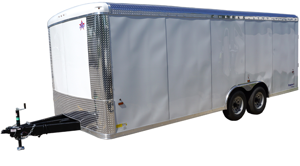 Side of Side of 8.5' x 20' white tandem enclosed trailer [sn2927]