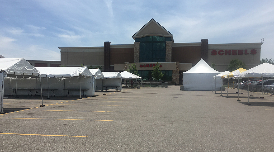 Frame tents setup at Scheels in Des Moines, Iowa for hunting expo tent sale