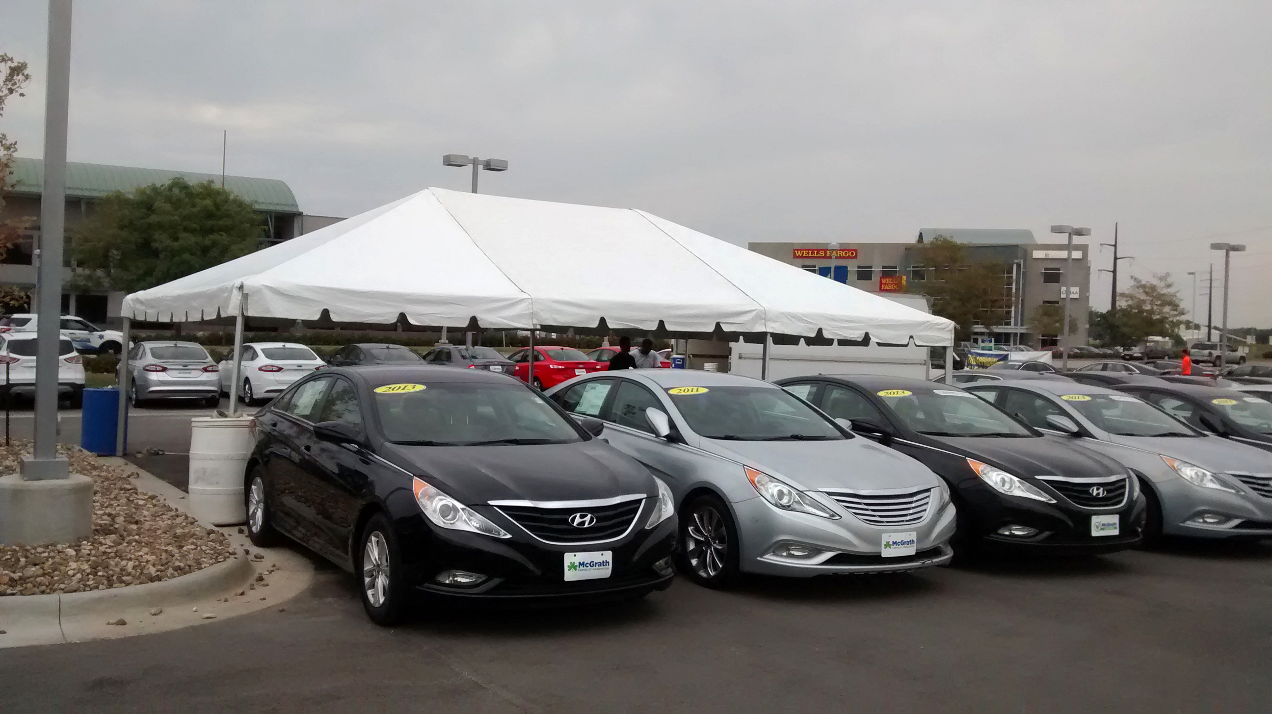 20′ x 30′ frame tent for the grand re-opening at Coralville Used Car Superstore