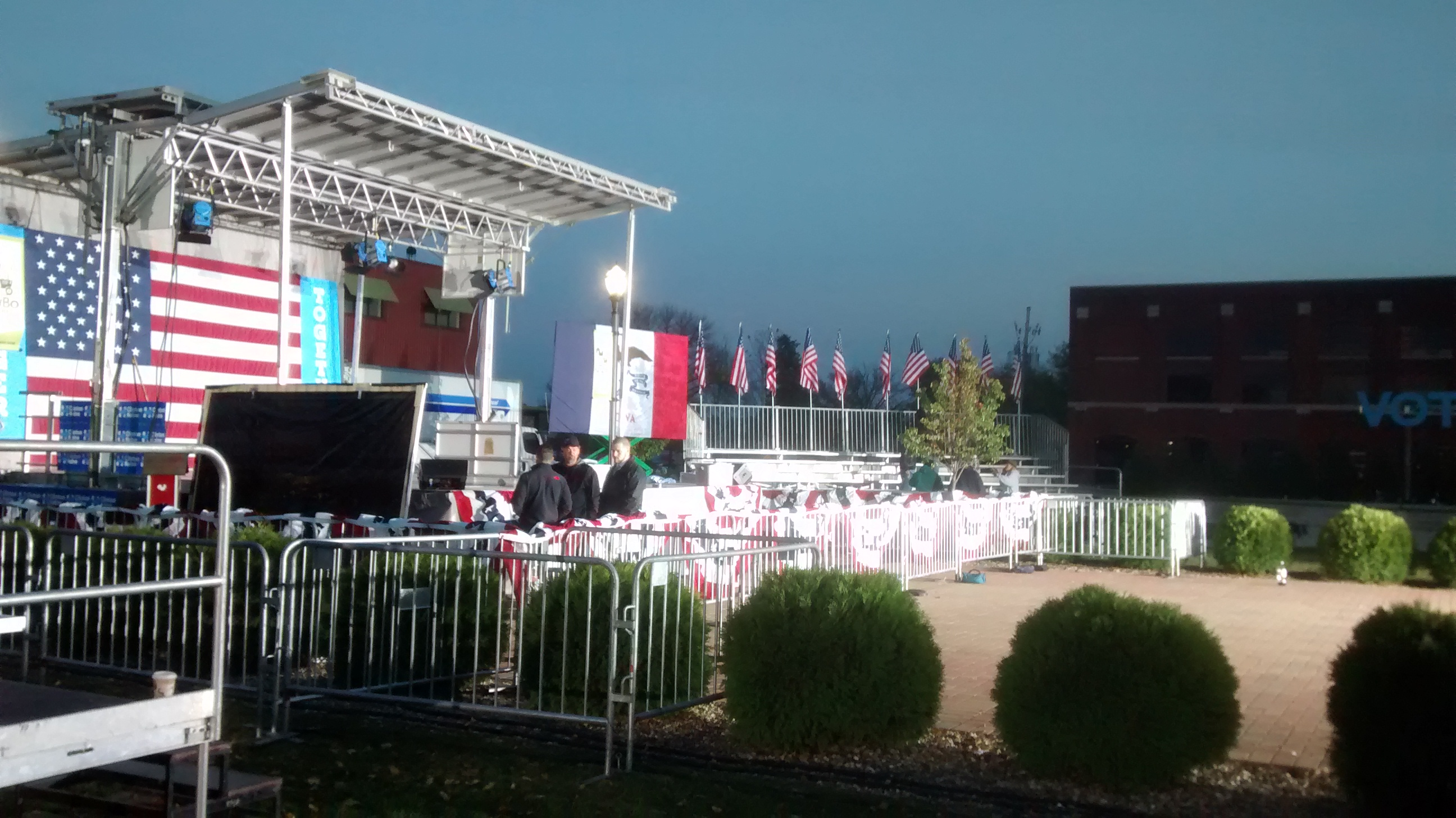 Setup of barricade and more for the Hillary Clinton political rally at NewBo City Market in Cedar Rapids, Iowa