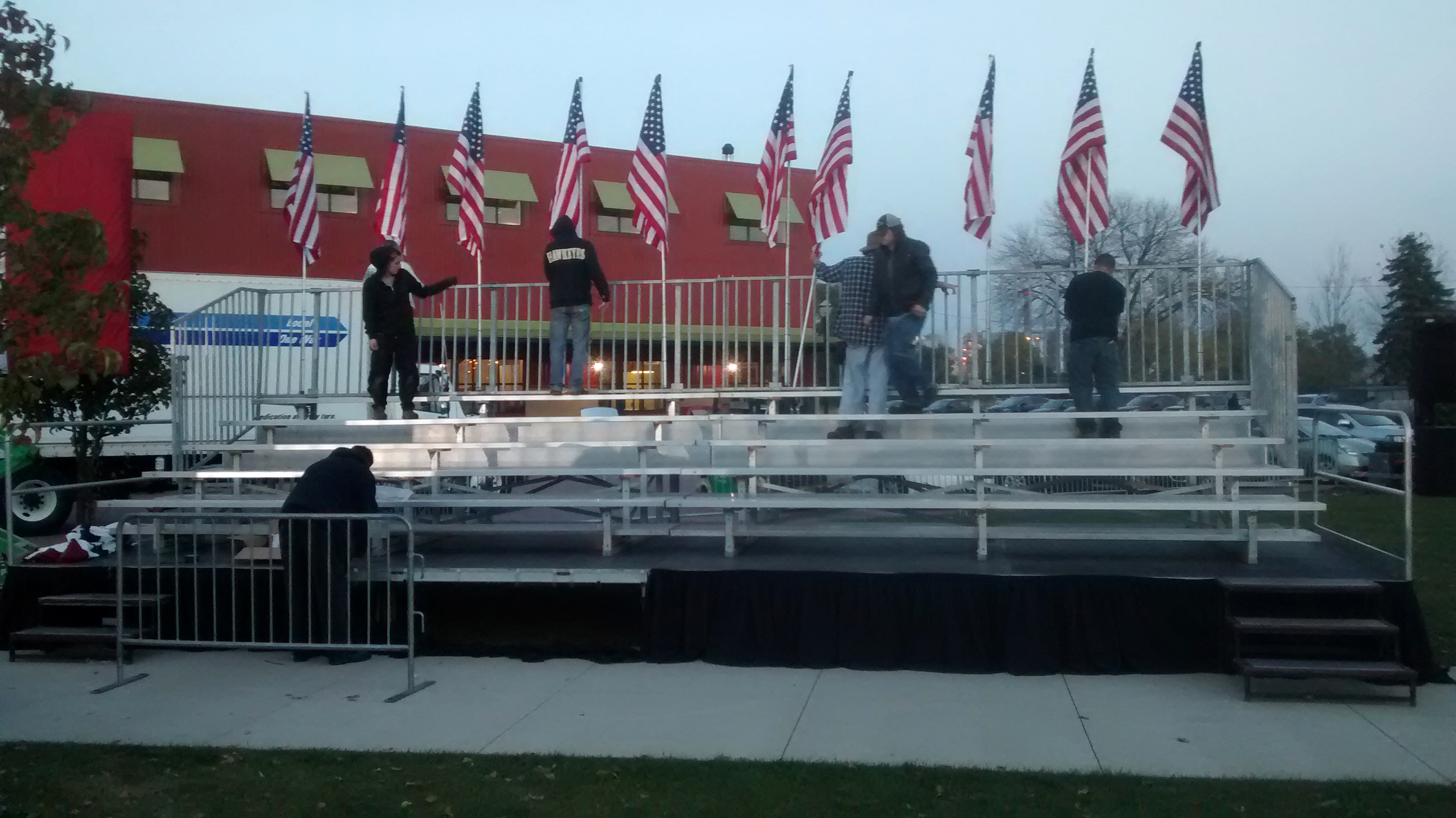 Our bleachers on the level stage we setup for Hillary Clinton political rally at NewBo City Market in Cedar Rapids, Iowa