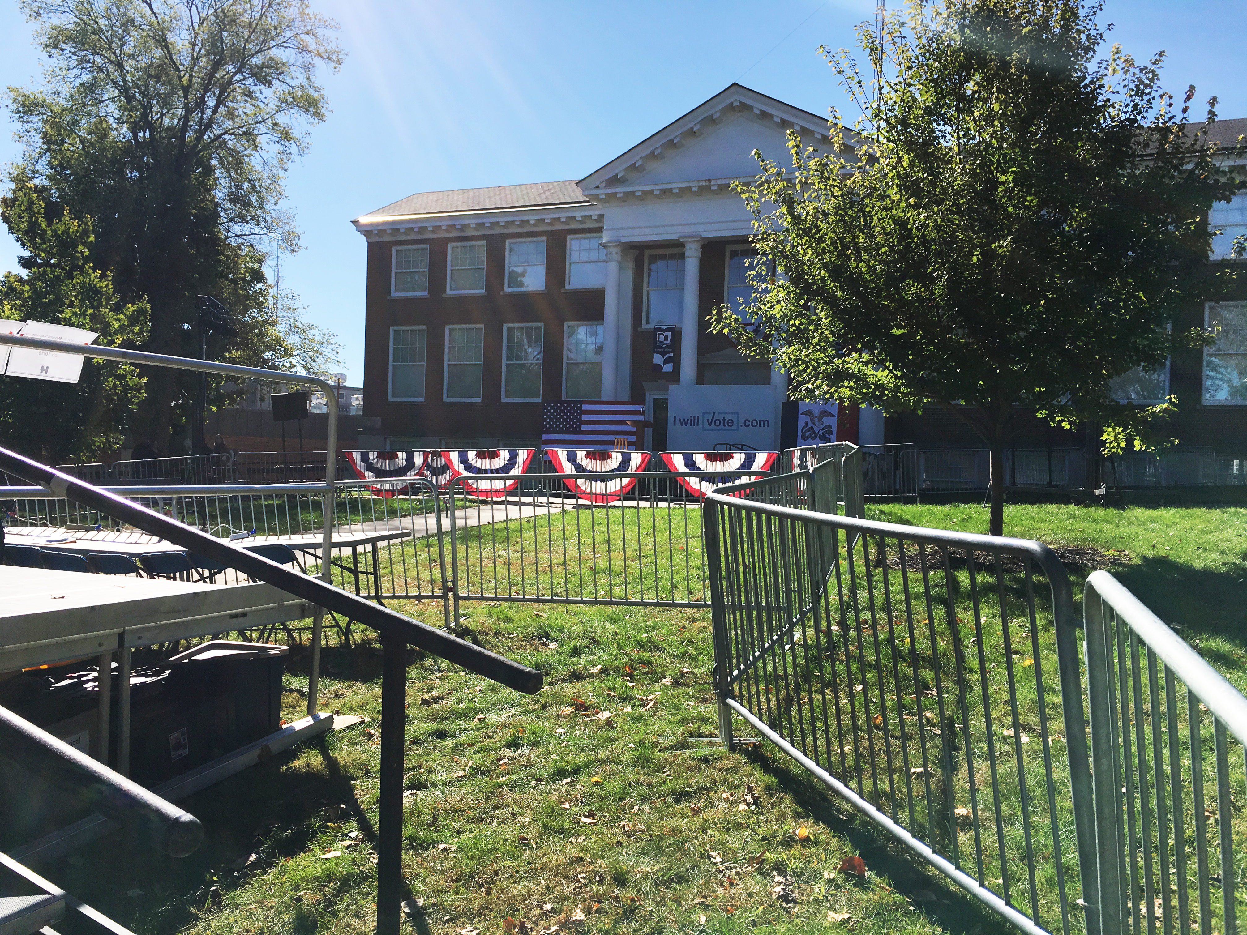 Stage and fencing for political rally with President Bill Clinton at Armstrong Hall at Cornell College for BNY Productions