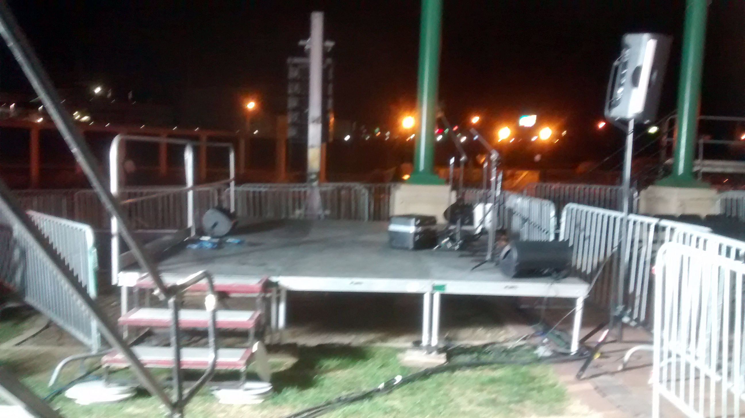 Low band stage with steps for political event at Larsen Park Road, Sioux City, Iowa