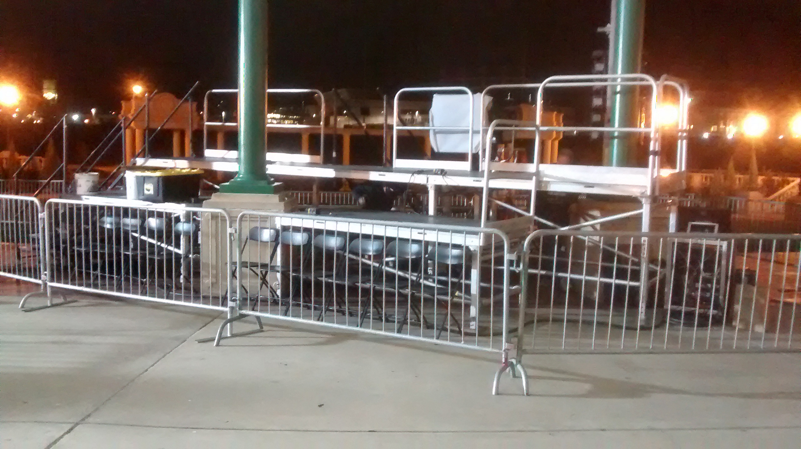 Press risers with barricade setup for political event at Larsen Park Road, Sioux City, Iowa