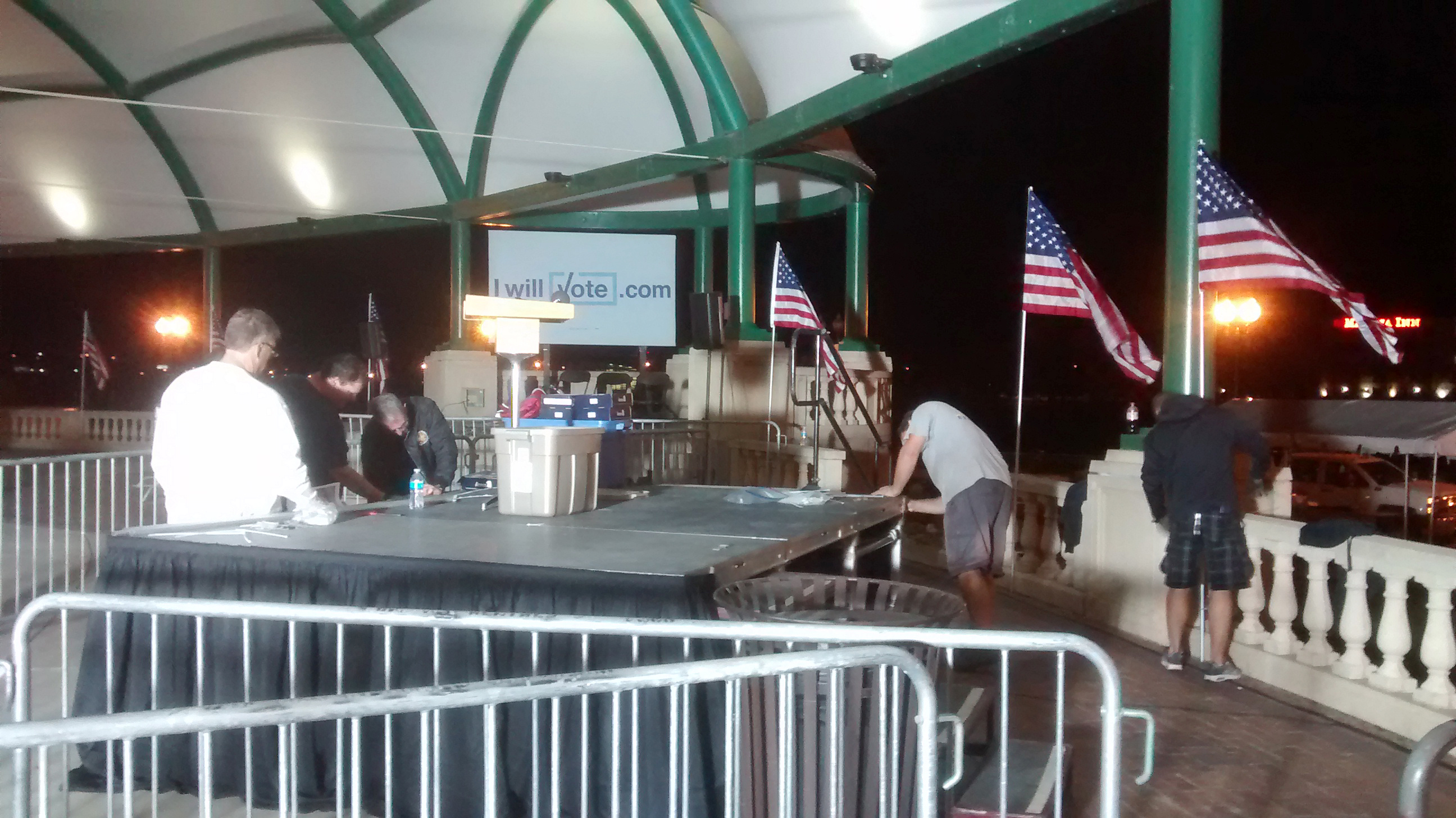 Stage with flags for a political event at Larsen Park Road, Sioux City, Iowa