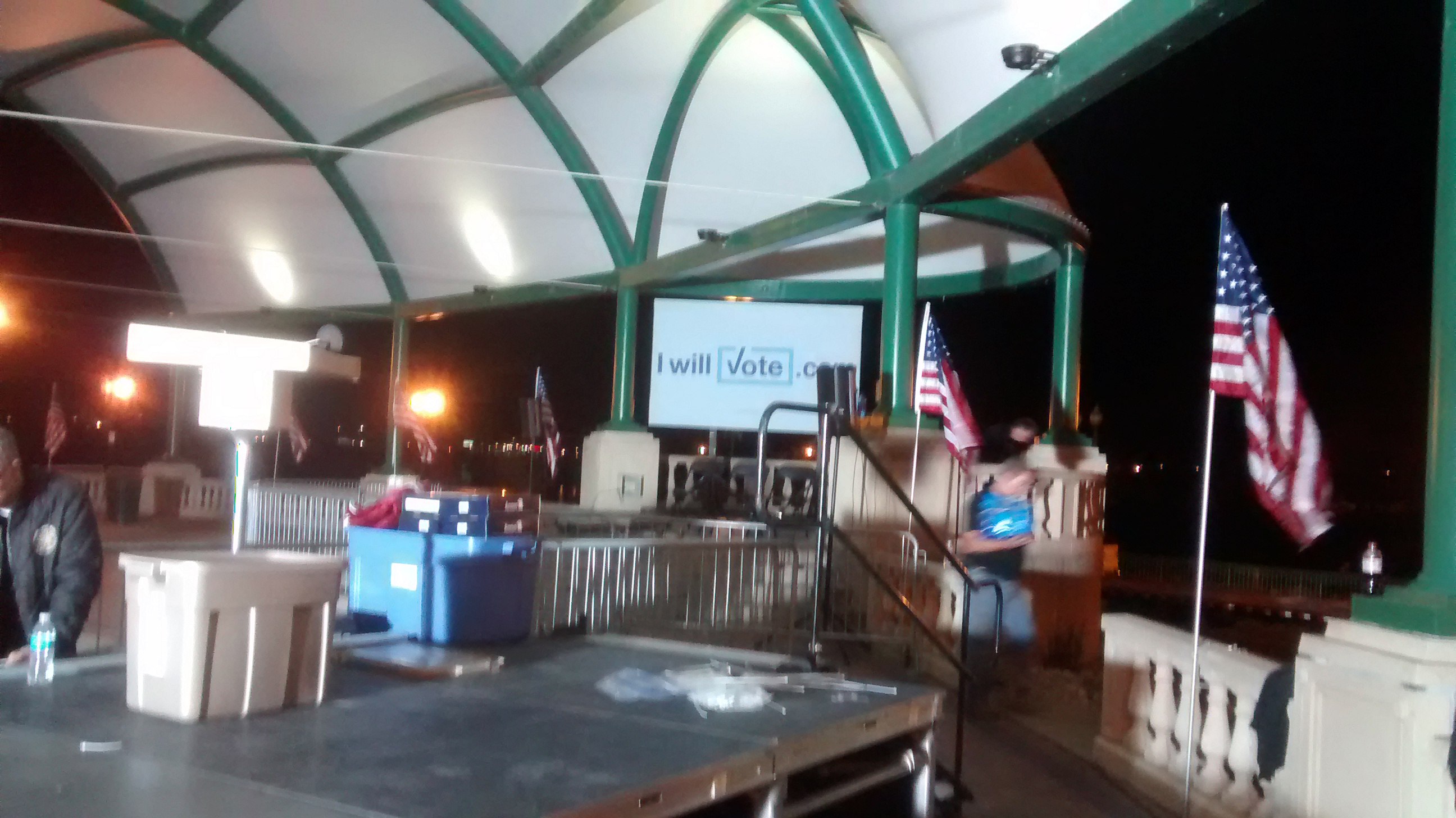 Stage with stairs setup for a political event at Larsen Park Road, Sioux City, Iowa