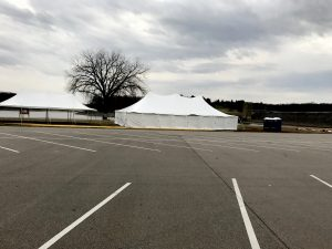 20' x 40' rope and pole tent (left with no side walls), 30' x 60' rope and pole tent (right) for Special Olympics Polar Plunge 2017