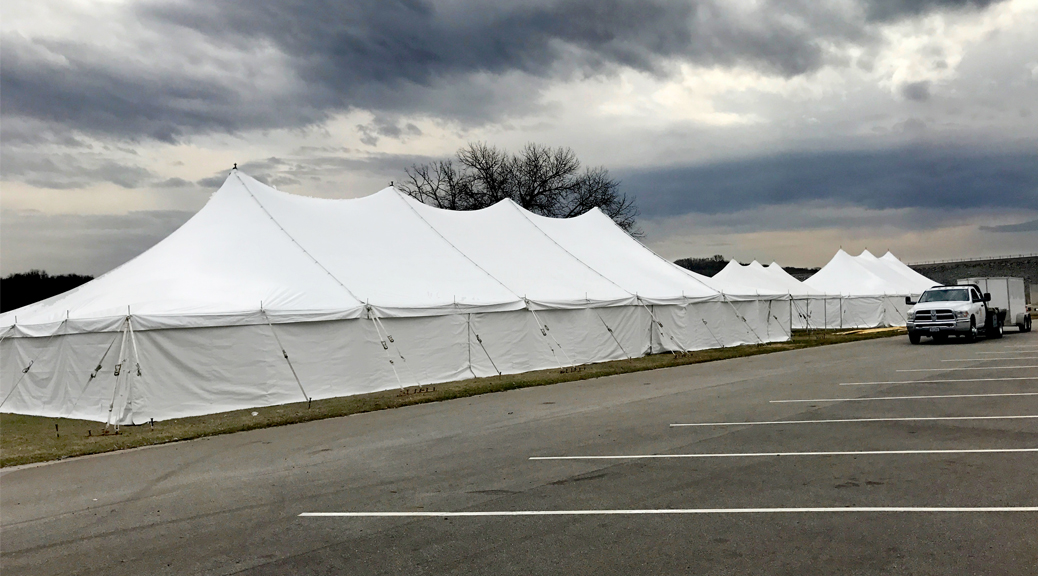40' x 100' Elite rope and pole tent (left), 20' x 40' rope and pole tent (middle), 30' x 60' rope and pole tent (right) for Special Olympics Polar Plunge 2017