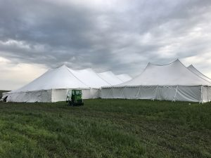 80' x 150' Twin Pole rope and pole on the far left with 10' x 10' frame tent in the middle with a 60' x 90' Twin Pole rope and pole tent on the right