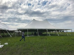 80' x 150' rope and pole on the far left with 10' x 10' frame tent in the middle with a 60' x 90' rope and pole tent on the right