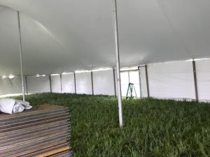 Glass door on a 60' x 90' rope and pole tent