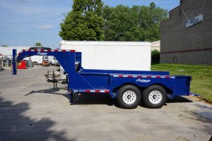 Side of Gooseneck Tandem Axel Airtow Drop-Deck Trailer for rent in Iowa