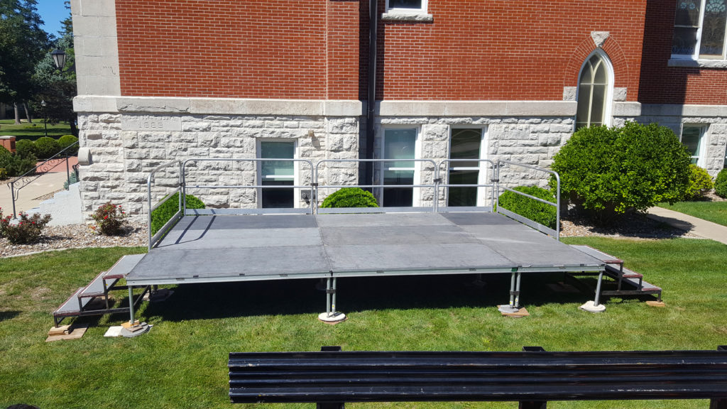 12' x 20' x 24 high stage with railings and stairs for Iowa Wesleyan University in Mt Pleasant, Iowa