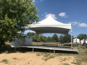 20' x 20' Tentnology frame tent for an Outdoor corporate event setup for West Liberty foods in Libertyville, Iowa