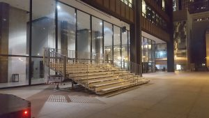 Bleachers delivery to Richard J. Daley Center in Chicago, Illinois for the Icebox Derby