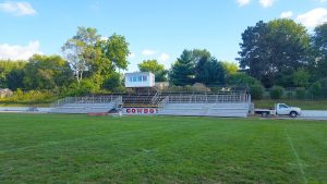 Bleachers on the Home Team Side of football field in Sidney, Iowa
