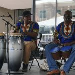 Bongo drum players of the SD Band at the 2017 Iowa Soul Festival in Iowa City. IA (Summer of the Arts)