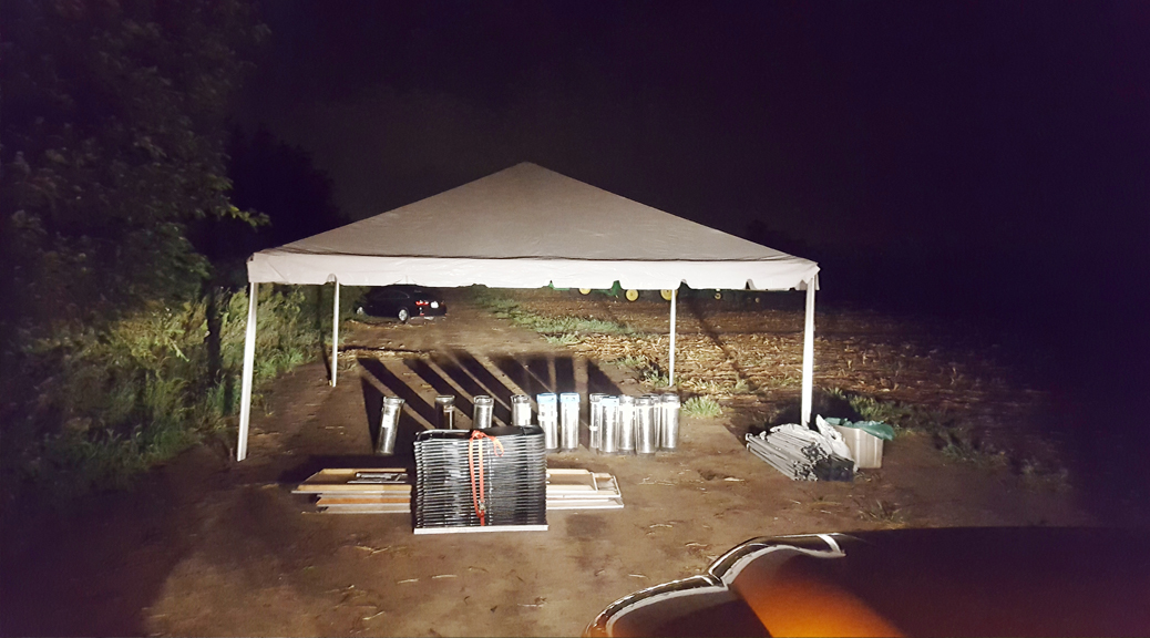 Corporate event set up for John Deere in Grimes, Iowa at 2 am (header)