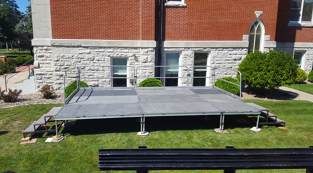 Stage with railings and stairs for Iowa Wesleyan University in Mt. Pleasant, IA (header)