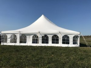 End of the 40' x 80' rope and pole wedding tent setup in Fairfield, Iowa