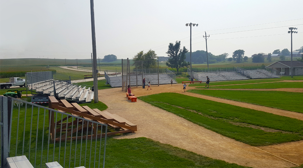 Towable bleachers at Field of Dreams by Big Ten Rentals