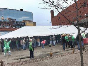 Last minute Saint Patrick's Day event under 30' x 75' frame tent at Steve's Old Time Tap in Rock Island, IL