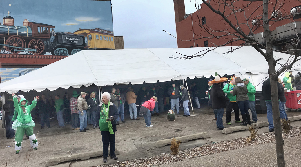 Last minute Saint Patrick's Day tent setup at Steve's Old Time Tap in Rock Island, IL