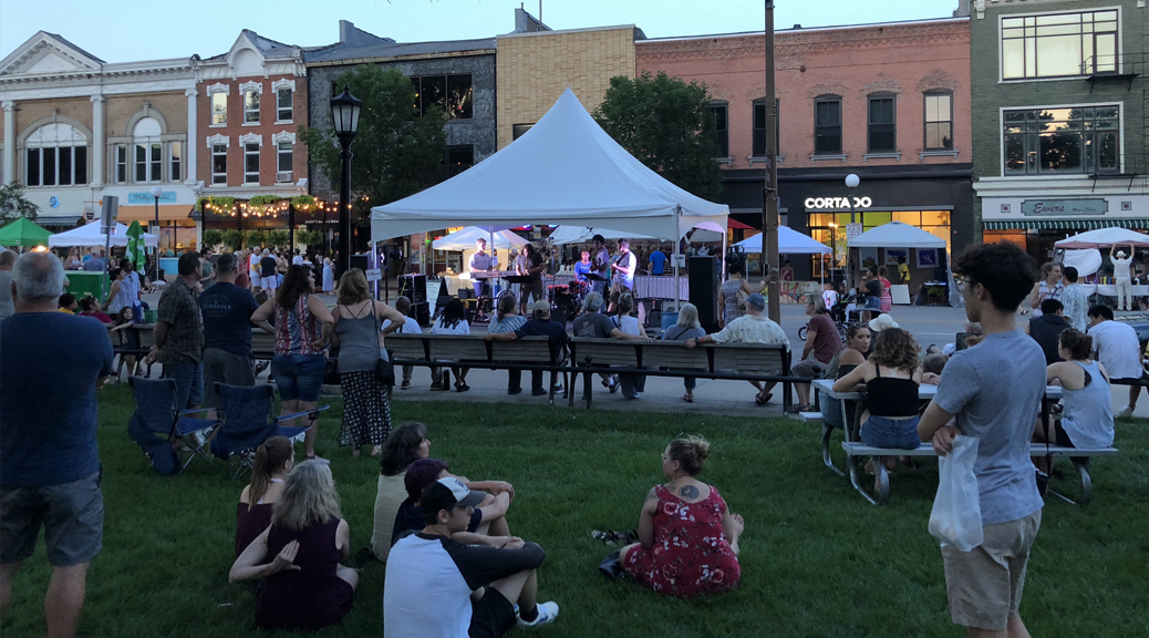 20' x 20' tentnology tent at the 2018 Iowa City Jazz Festival for Summer of the Arts in downtown Iowa City