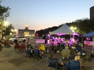 Music Event in Iowa City Downtown District by Joe's Place over looking Old Capitol Museum