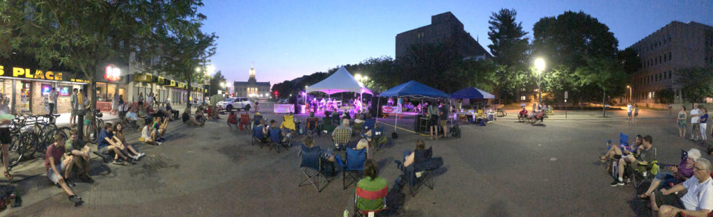 Music event in Iowa City Downtown District (Panoramic Photo)