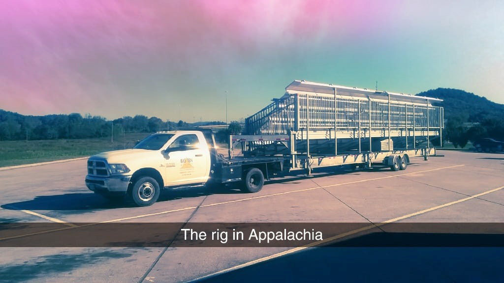 The Big Ten Rentals truck and Bleachers in Appalachia. Bleachers on the move to Florida from Iowa