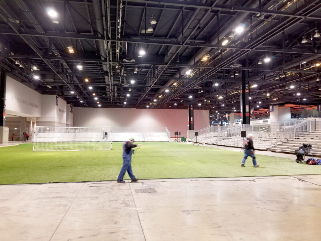 Bleacher delivery in Chicago, Illinois for for United Soccer Coaches in Mccormick Place