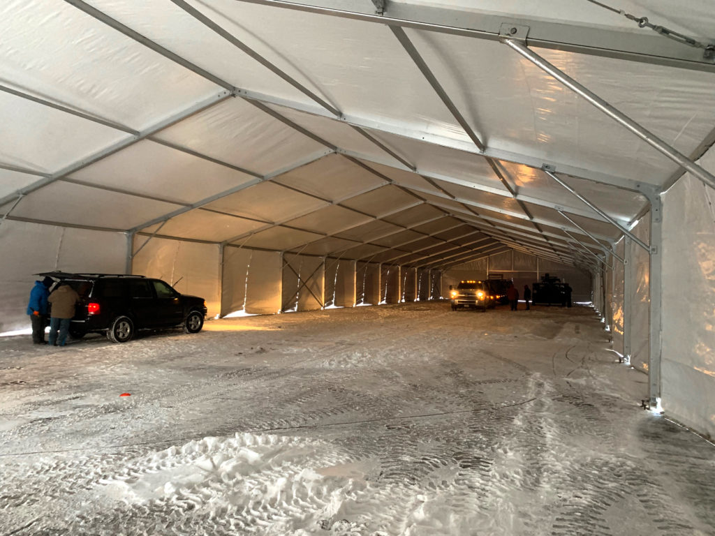 30,500 sq ft On-Site Temporary Warehouse Structures (tent) in Des Moines, Iowa