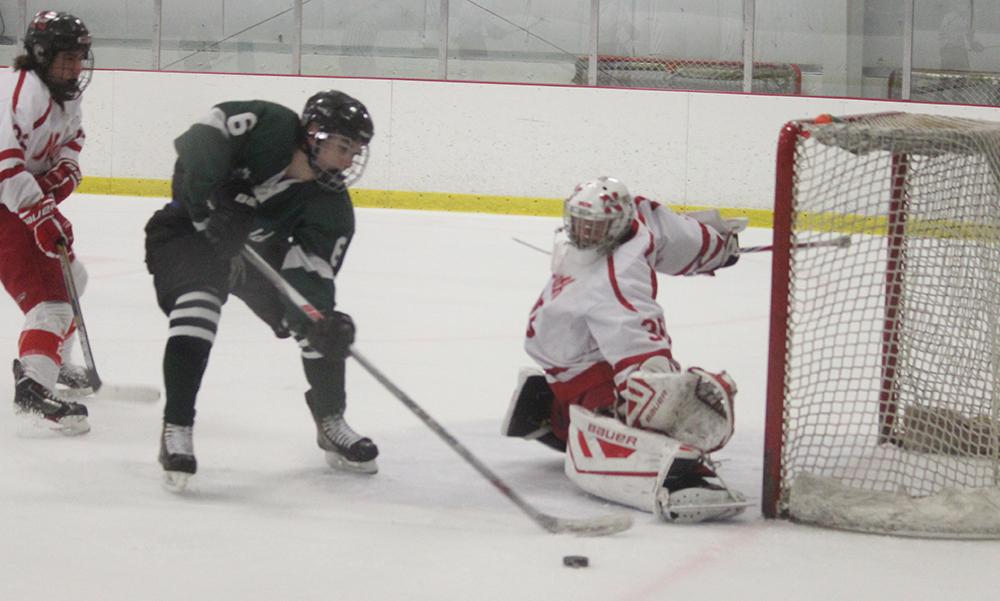 Mansfield's Chad Piotti tries to get a chance by North Attleboro goalie Ryan Warren. (Ryan Lanigan/HockomockSports.com)