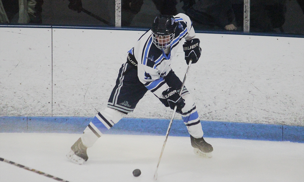 Franklin senior Jake Downie scored a pair of goals, including the game winner in the first period. (Ryan Lanigan/HockomockSports.com)