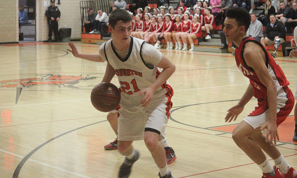 Stoughton boys basketball player Ryan Sullivan tied a career-high with 16 points on Tuesday night. (Ryan Lanigan/HockomockSports.com)
