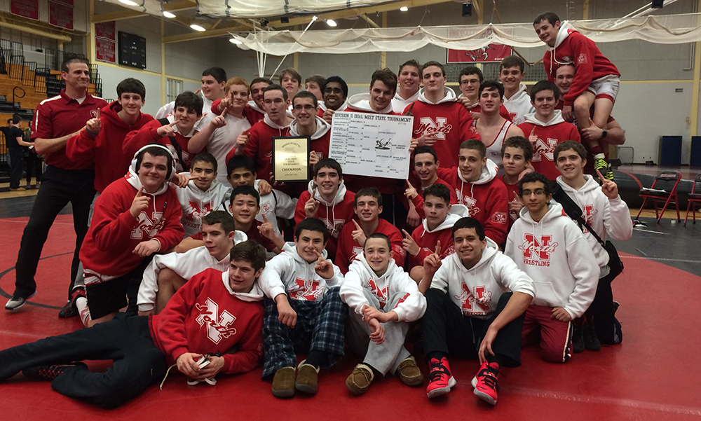 North Attleboro wrestling celebrates after winning the MIWCA D2 Dual Tournament. (Courtesy Photo)